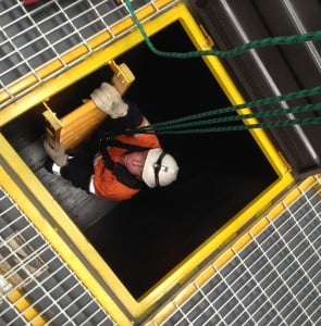 Worker in confined space