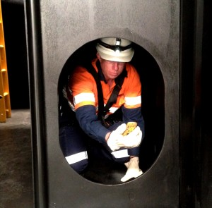 Student in confined space
