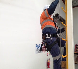 Worker working at heights