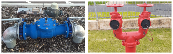 Backflow prevention device (left) & Twin Fire Hydrant (Right)